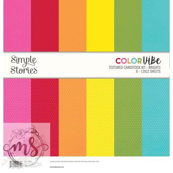 Papírkészlet (30x30 cm) - Simple Stories Color Vibe Textured Cardstock - Brights