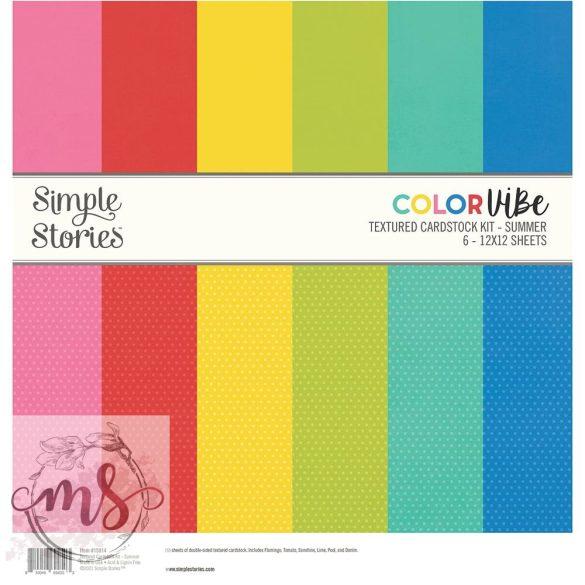 Papírkészlet (30x30 cm) - Simple Stories Color Vibe Textured Cardstock - Summer