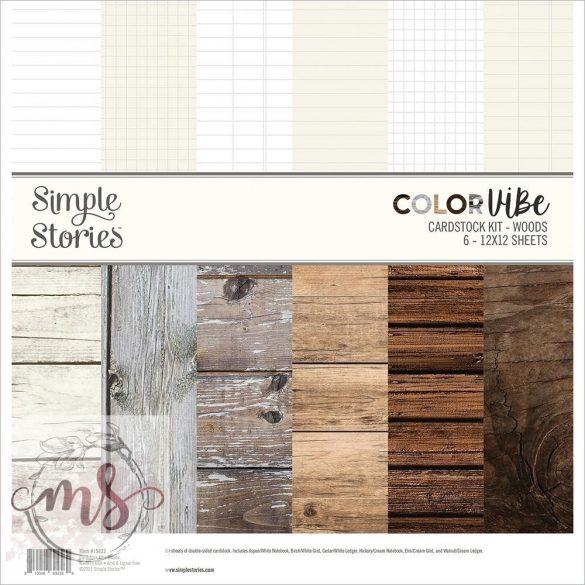 Papírkészlet (30x30 cm) - Simple Stories Color Vibe Designer Cardstock - Woods