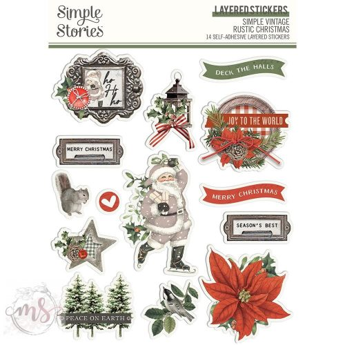 3D Matrica  - Simple Stories - Simple Vintage Rustic Christmas Layered Stickers