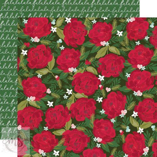 Scrapbook papír - Simple Stories - Holly Days - 'Tis the Season (1ív)