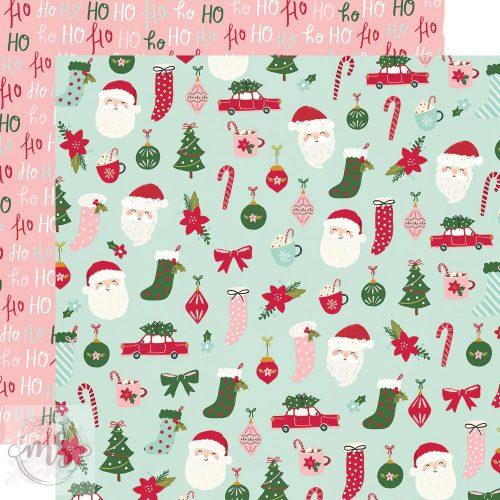 Scrapbook papír - Simple Stories - Holly Days - Hey Santa! (1ív)