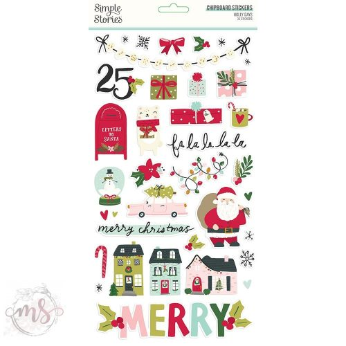 Chipboard Matrica - Simple Stories Holly Days - Chipboard Stickers