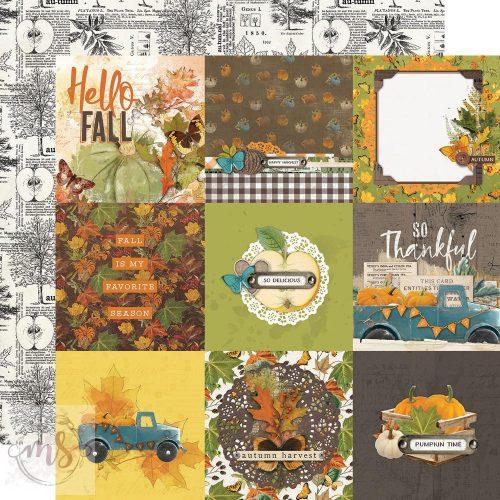 Scrapbook papír - Simple Stories - Simple Vintage Country Harvest - 4x4 Elements (1ív)