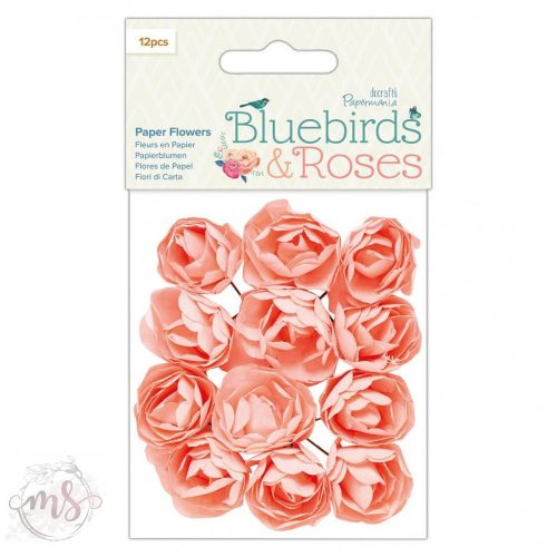 Papírvirágok - Papermania - Bluebirds & Roses - Paper Flowers 12db